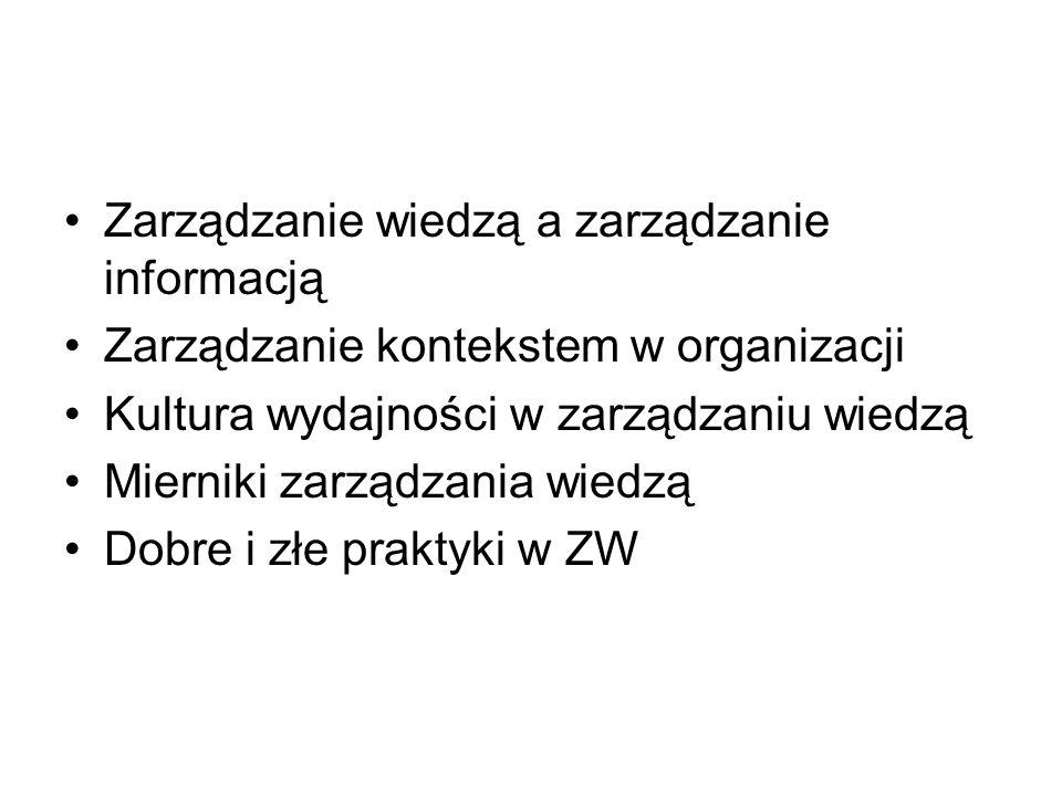 Zarządzanie wiedzą a zarządzanie informacją