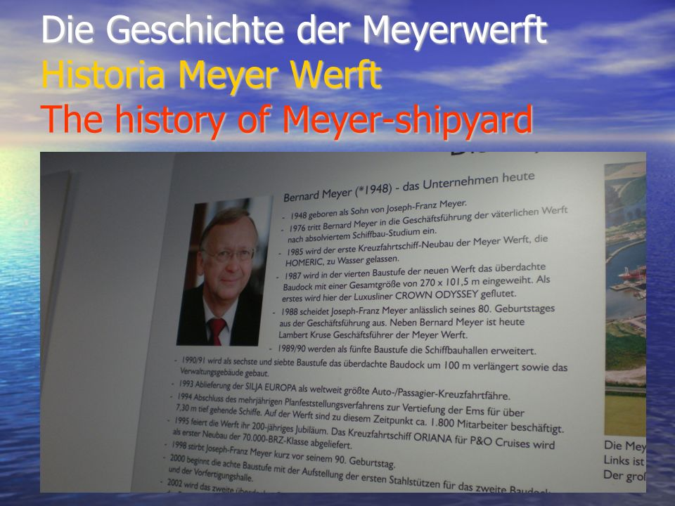 Die Geschichte der Meyerwerft Historia Meyer Werft The history of Meyer-shipyard