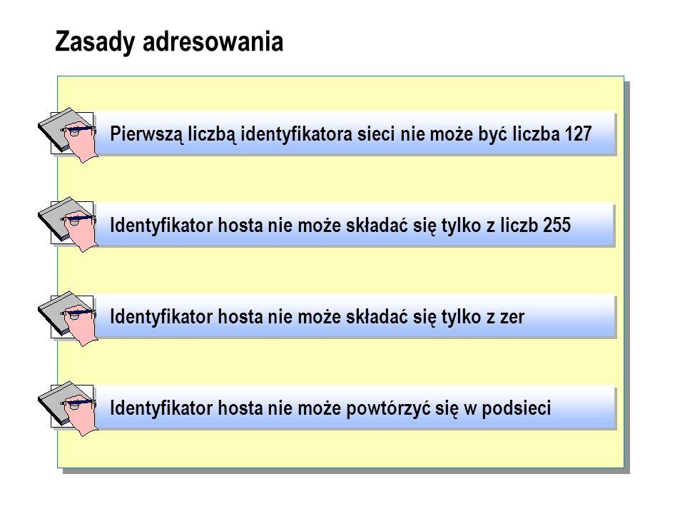 Zasady adresowania Pierwszą liczbą identyfikatora sieci nie może być liczba 127. Identyfikator hosta nie może składać się tylko z liczb 255.