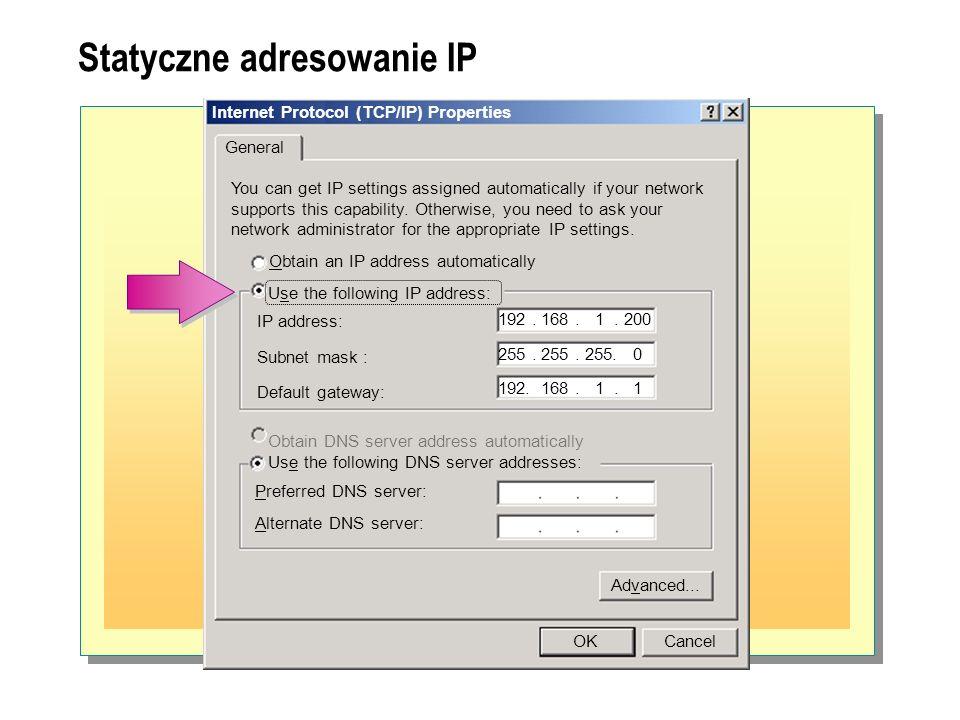 Statyczne adresowanie IP