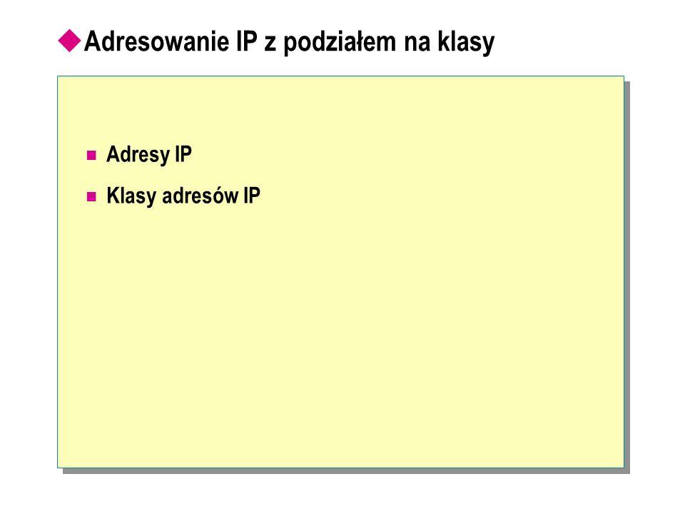 Adresowanie IP z podziałem na klasy