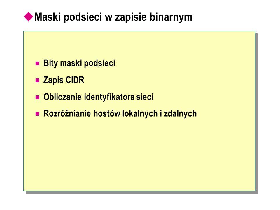 Maski podsieci w zapisie binarnym