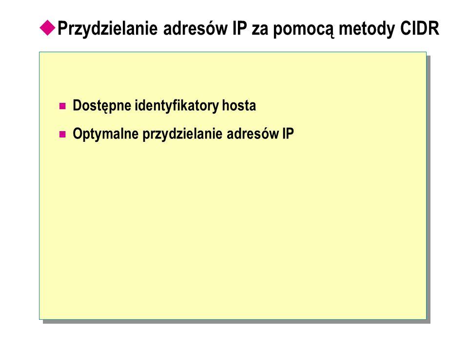 Przydzielanie adresów IP za pomocą metody CIDR