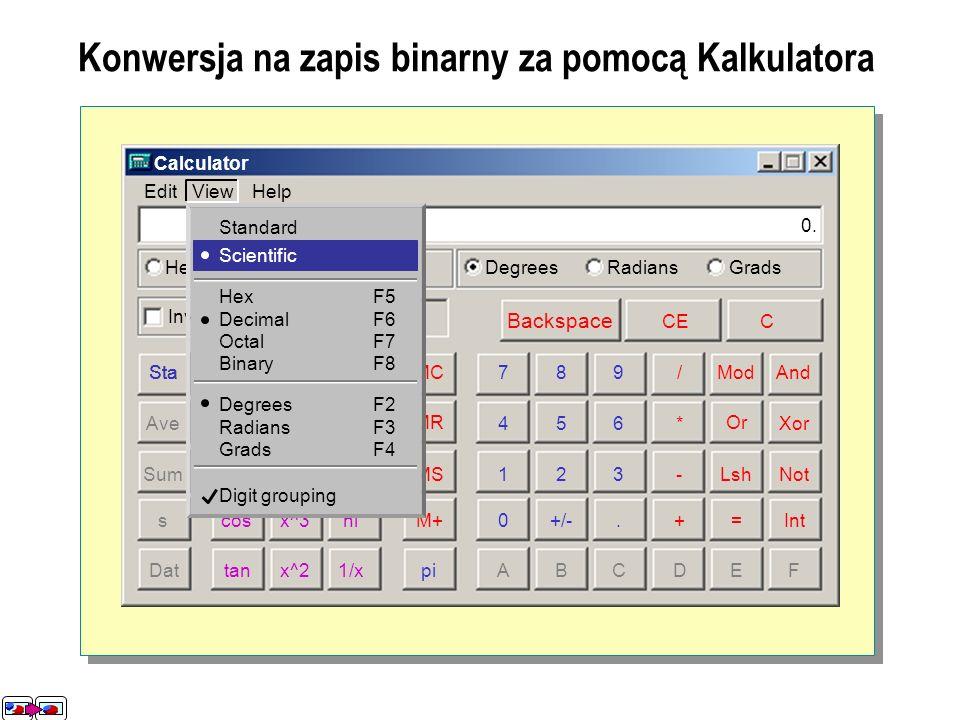 Konwersja na zapis binarny za pomocą Kalkulatora