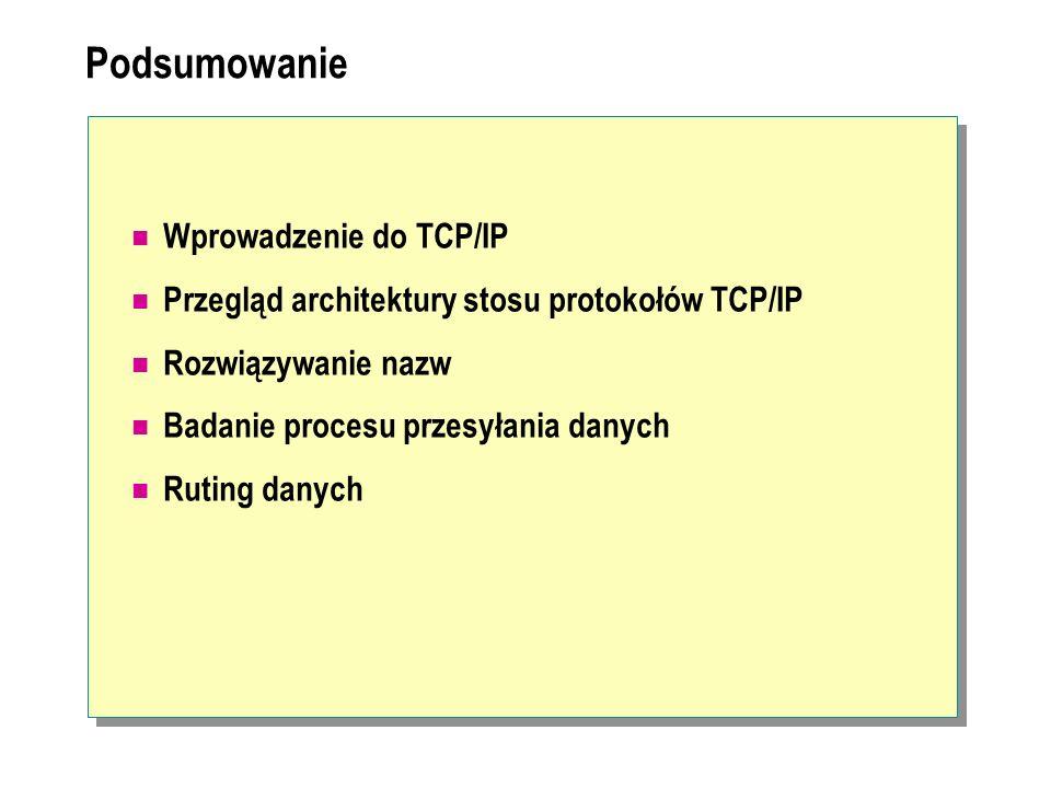 Podsumowanie Wprowadzenie do TCP/IP