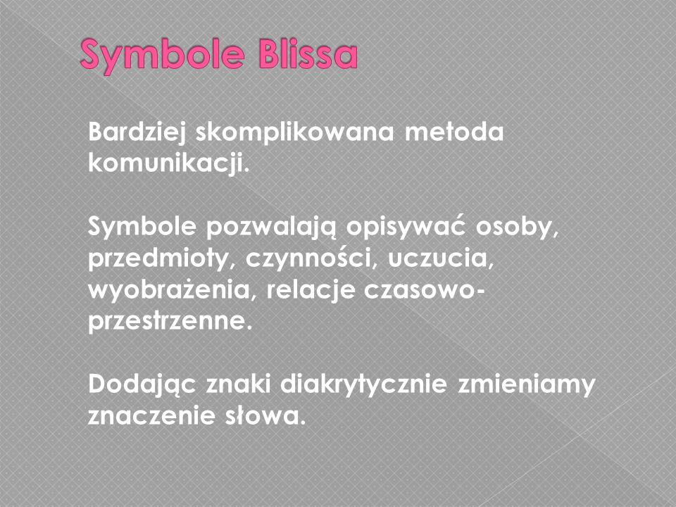 Symbole Blissa Bardziej skomplikowana metoda komunikacji.