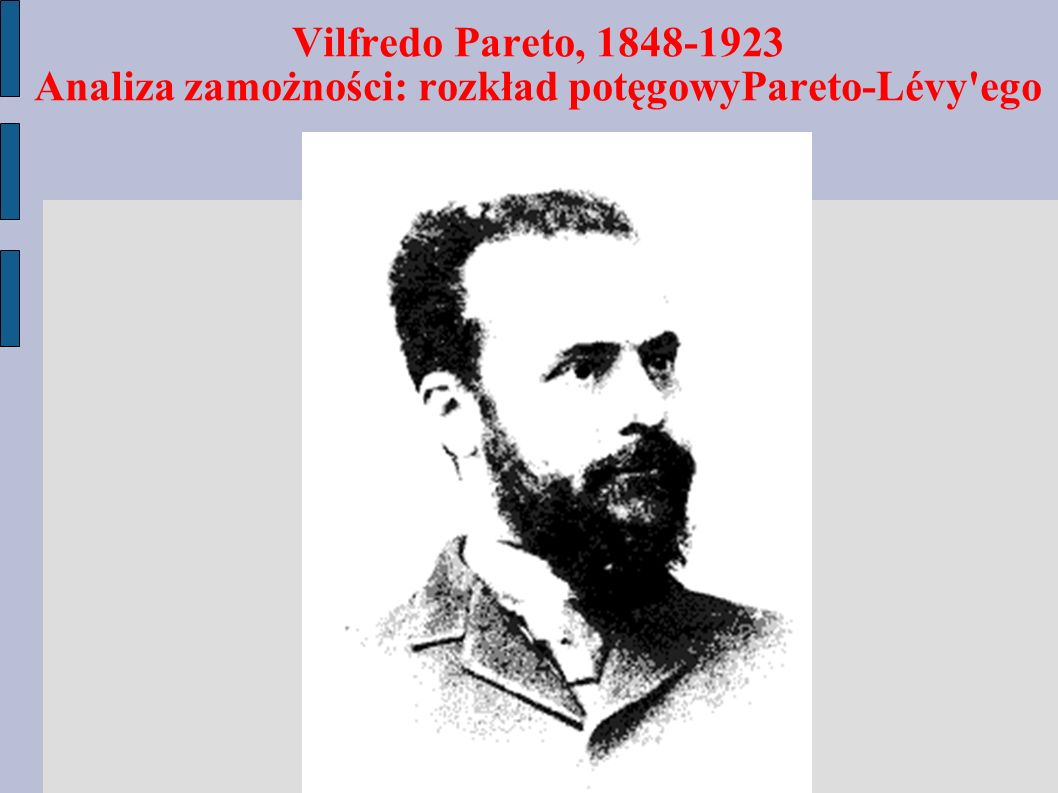Vilfredo Pareto, 1848-1923 Analiza zamożności: rozkład potęgowyPareto-Lévy ego