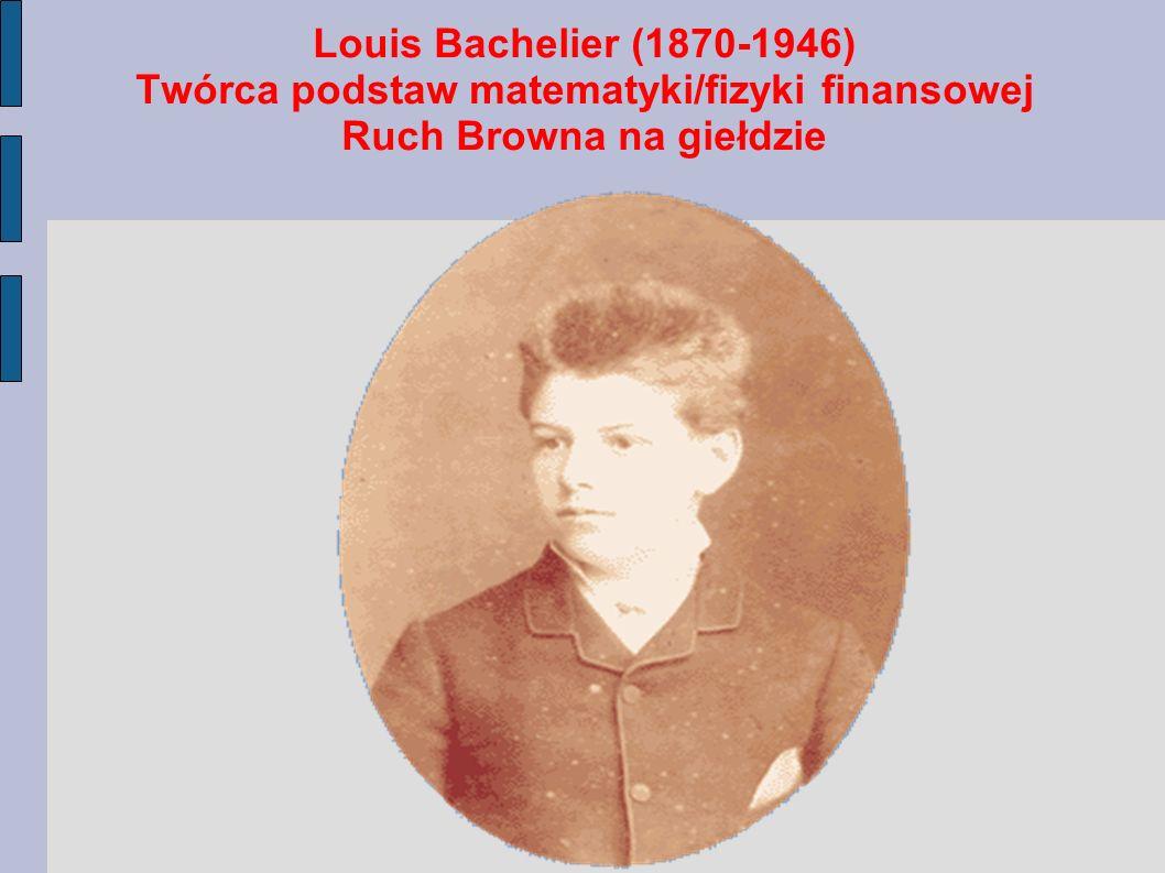 Louis Bachelier (1870-1946) Twórca podstaw matematyki/fizyki finansowej Ruch Browna na giełdzie