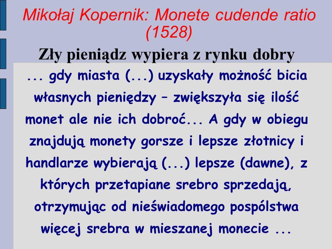 Mikołaj Kopernik: Monete cudende ratio (1528)
