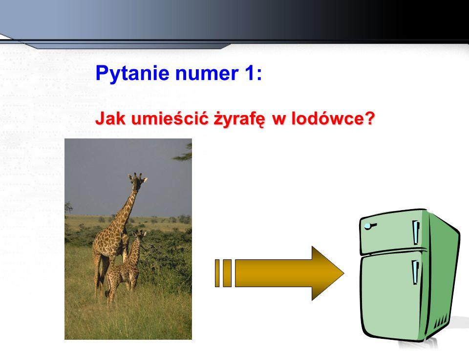 Pytanie numer 1: Jak umieścić żyrafę w lodówce