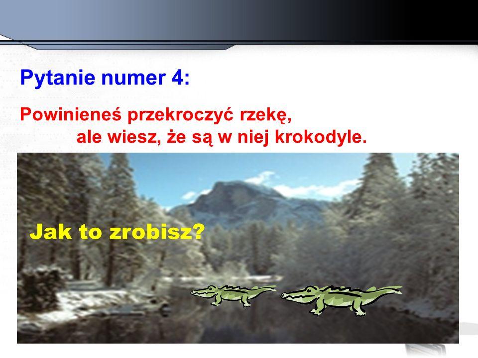 Pytanie numer 4: Jak to zrobisz Powinieneś przekroczyć rzekę,