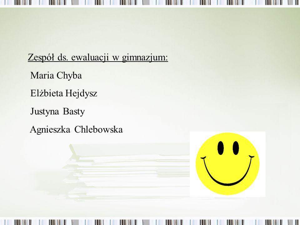 Zespół ds. ewaluacji w gimnazjum: