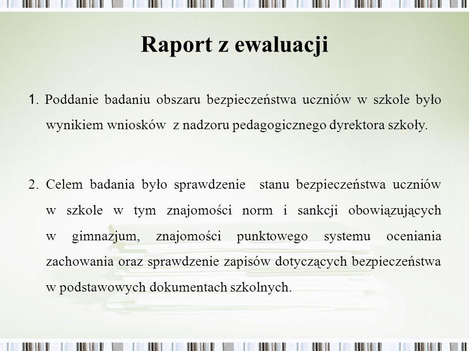 Raport z ewaluacji1. Poddanie badaniu obszaru bezpieczeństwa uczniów w szkole było wynikiem wniosków z nadzoru pedagogicznego dyrektora szkoły.
