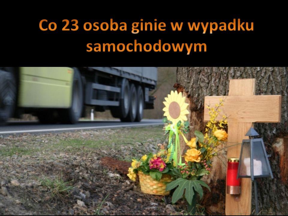 Co 23 osoba ginie w wypadku samochodowym