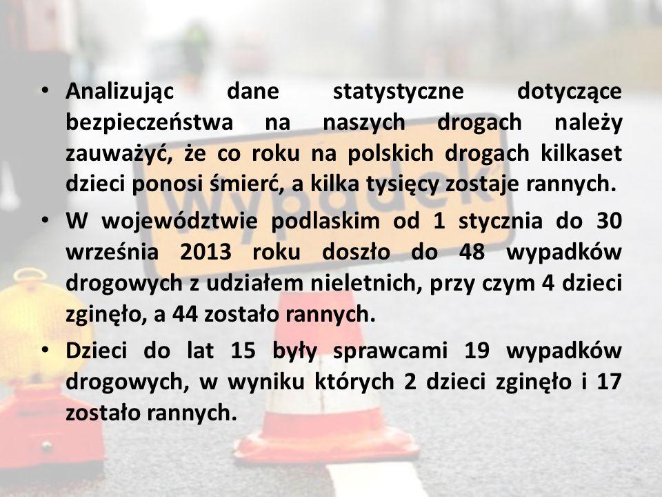 Analizując dane statystyczne dotyczące bezpieczeństwa na naszych drogach należy zauważyć, że co roku na polskich drogach kilkaset dzieci ponosi śmierć, a kilka tysięcy zostaje rannych.
