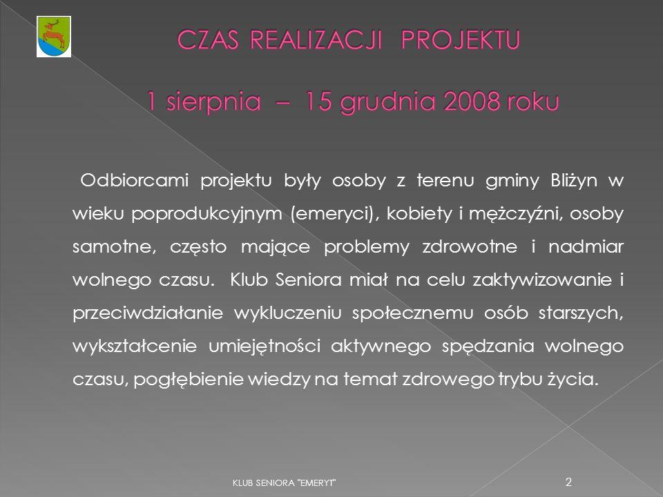 CZAS REALIZACJI PROJEKTU 1 sierpnia – 15 grudnia 2008 roku
