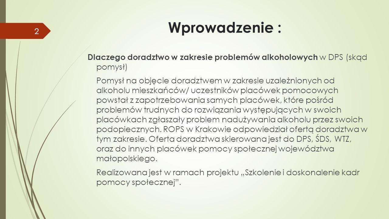 Wprowadzenie : Dlaczego doradztwo w zakresie problemów alkoholowych w DPS (skąd pomysł)