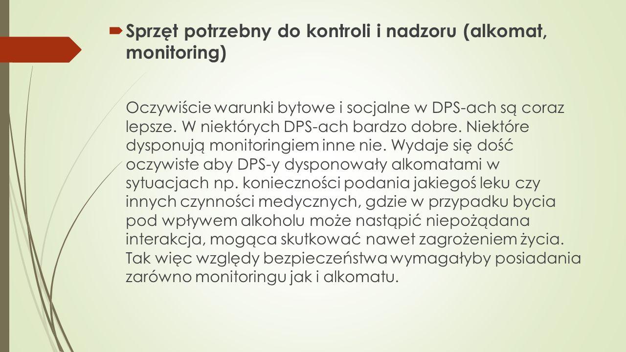Sprzęt potrzebny do kontroli i nadzoru (alkomat, monitoring)