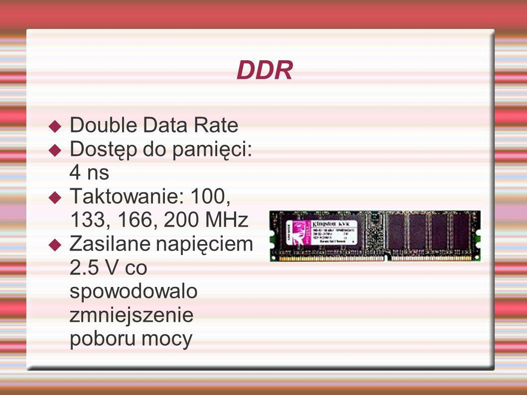 DDR Double Data Rate Dostęp do pamięci: 4 ns