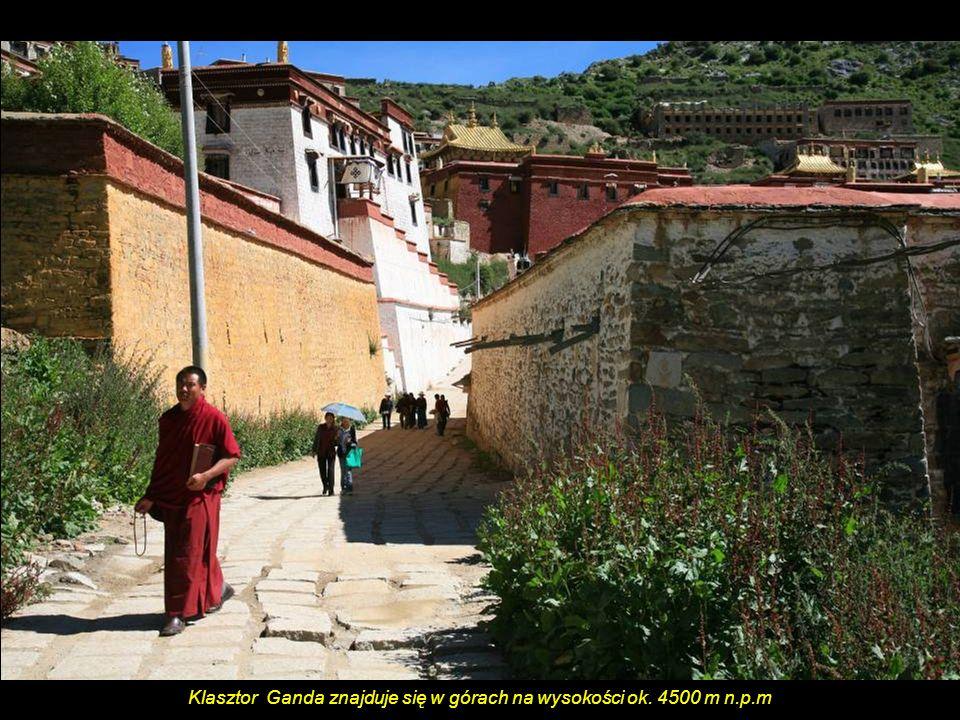 Klasztor Ganda znajduje się w górach na wysokości ok. 4500 m n.p.m
