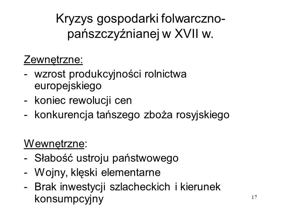 Kryzys gospodarki folwarczno-pańszczyźnianej w XVII w.