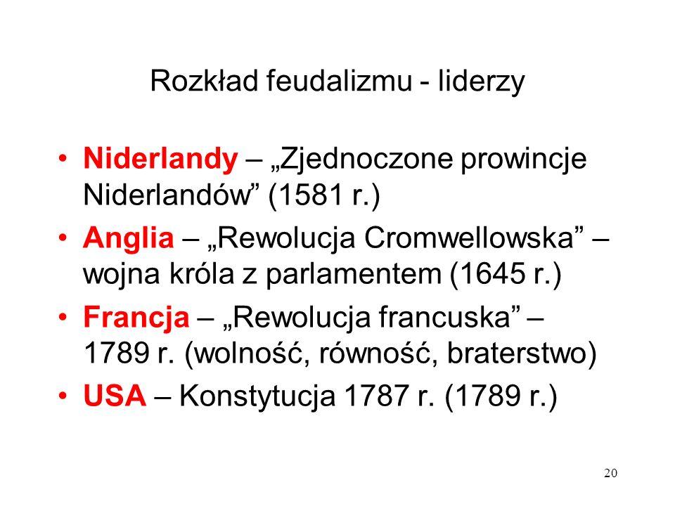 Rozkład feudalizmu - liderzy