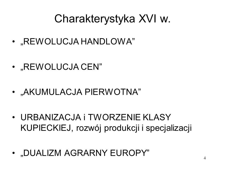 """Charakterystyka XVI w. """"REWOLUCJA HANDLOWA """"REWOLUCJA CEN"""