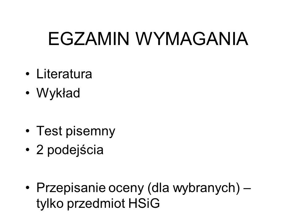 EGZAMIN WYMAGANIA Literatura Wykład Test pisemny 2 podejścia
