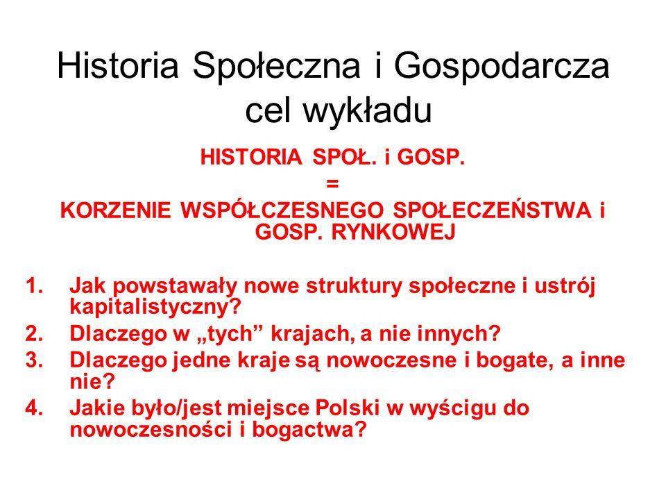 Historia Społeczna i Gospodarcza cel wykładu