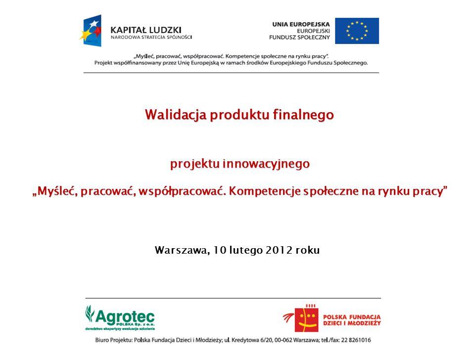 """Walidacja produktu finalnego projektu innowacyjnego """"Myśleć, pracować, współpracować. Kompetencje społeczne na rynku pracy"""