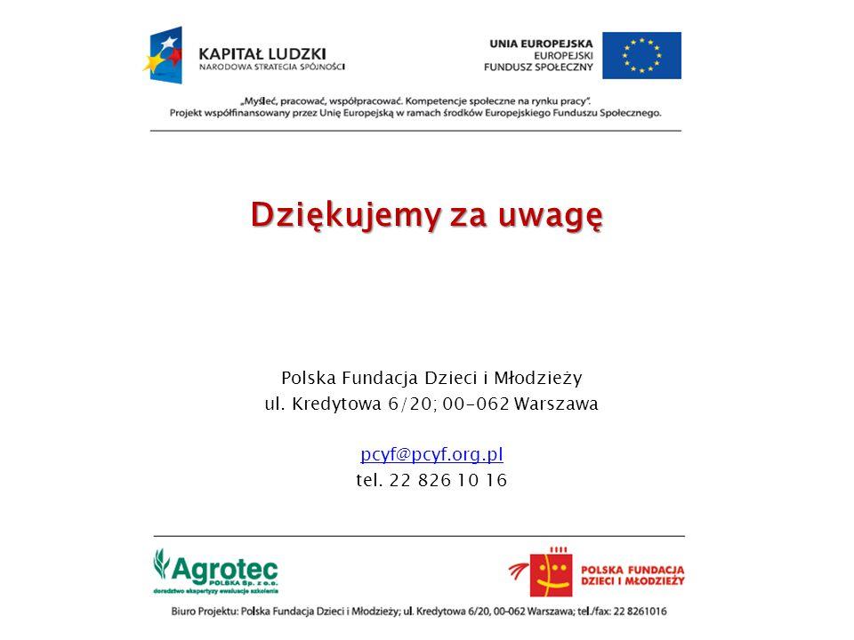 Dziękujemy za uwagę Polska Fundacja Dzieci i Młodzieży