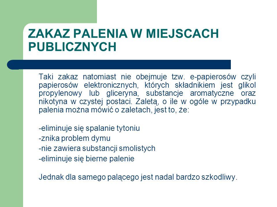 ZAKAZ PALENIA W MIEJSCACH PUBLICZNYCH