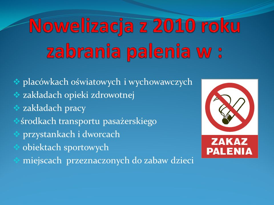 Nowelizacja z 2010 roku zabrania palenia w :