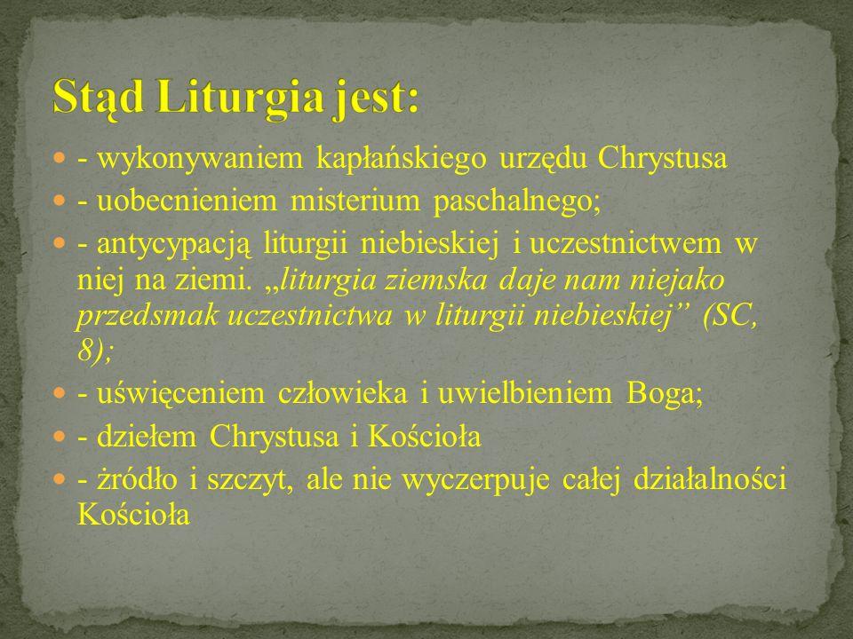 Stąd Liturgia jest: - wykonywaniem kapłańskiego urzędu Chrystusa