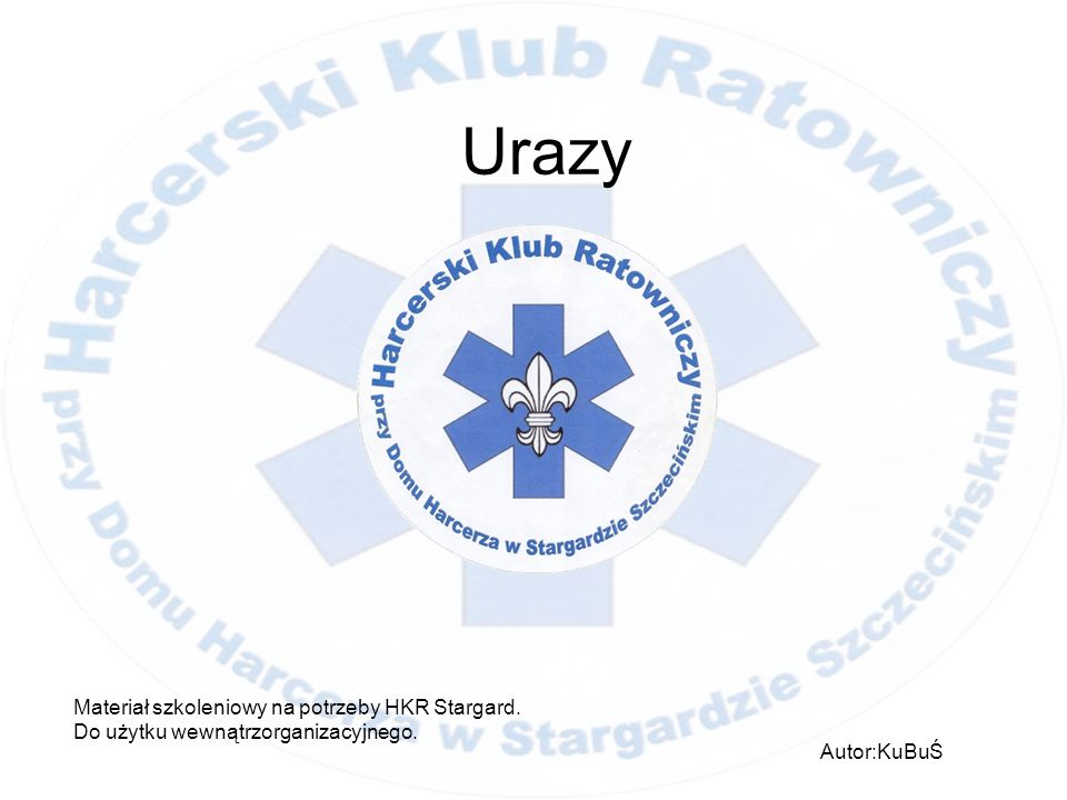 Urazy Materiał szkoleniowy na potrzeby HKR Stargard.
