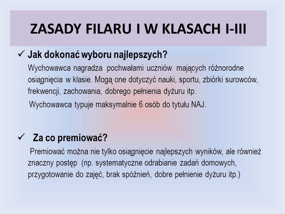 ZASADY FILARU I W KLASACH I-III