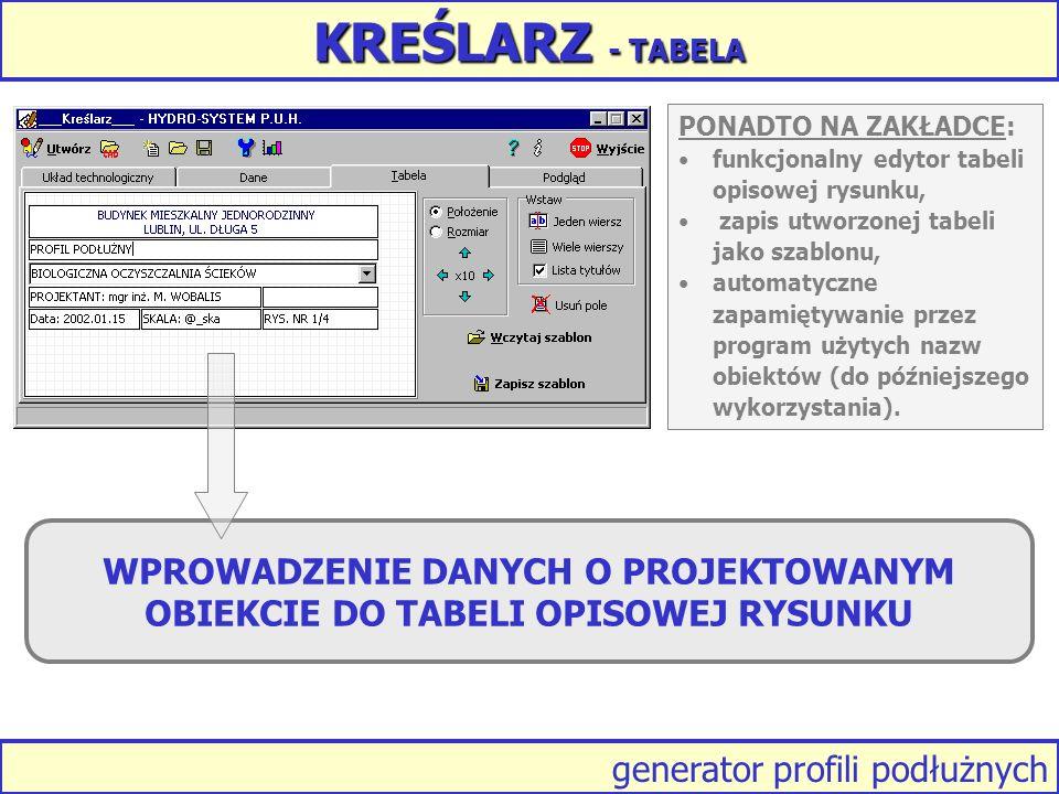 KREŚLARZ - TABELA PONADTO NA ZAKŁADCE: funkcjonalny edytor tabeli opisowej rysunku, zapis utworzonej tabeli jako szablonu,