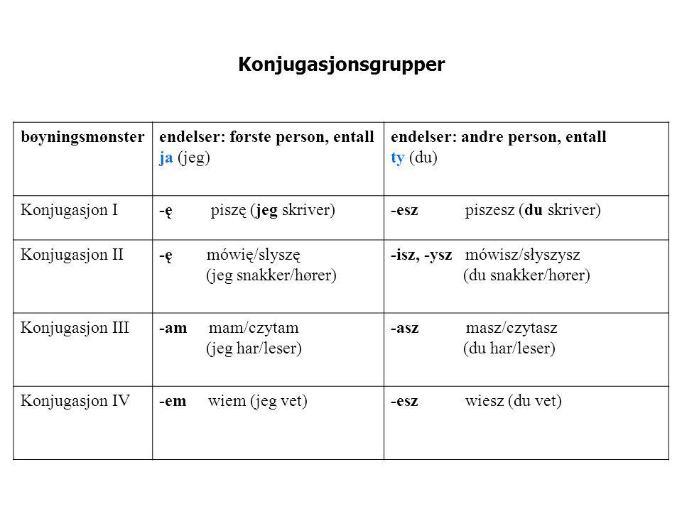 Konjugasjonsgrupper bøyningsmønster endelser: første person, entall