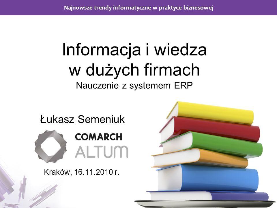 Informacja i wiedza w dużych firmach Nauczenie z systemem ERP '