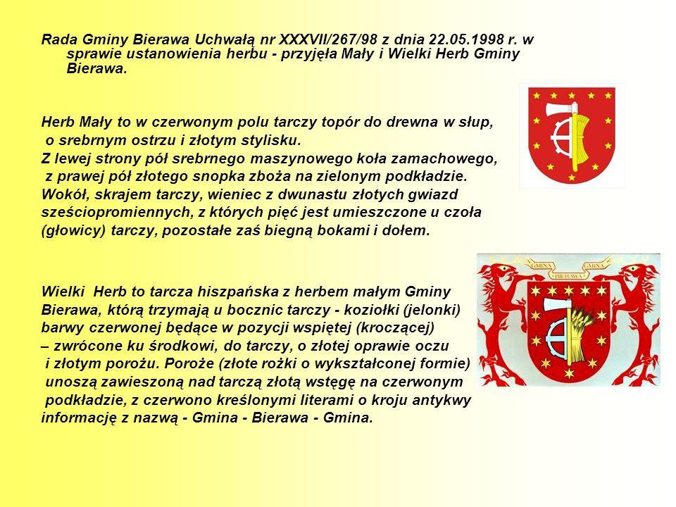 Rada Gminy Bierawa Uchwałą nr XXXVII/267/98 z dnia 22. 05. 1998 r