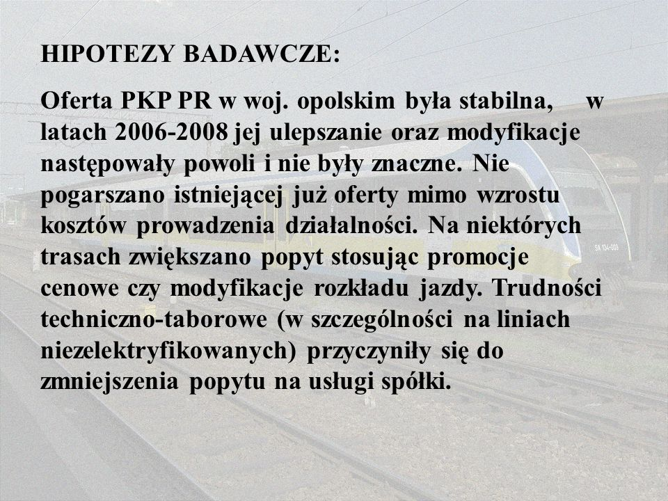 HIPOTEZY BADAWCZE: