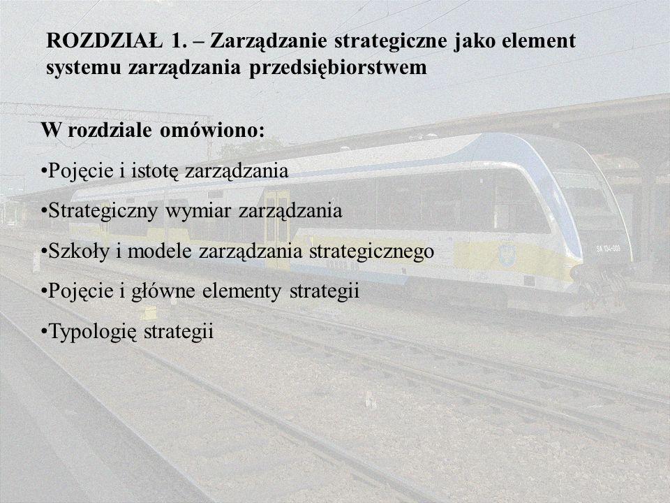 ROZDZIAŁ 1. – Zarządzanie strategiczne jako element systemu zarządzania przedsiębiorstwem
