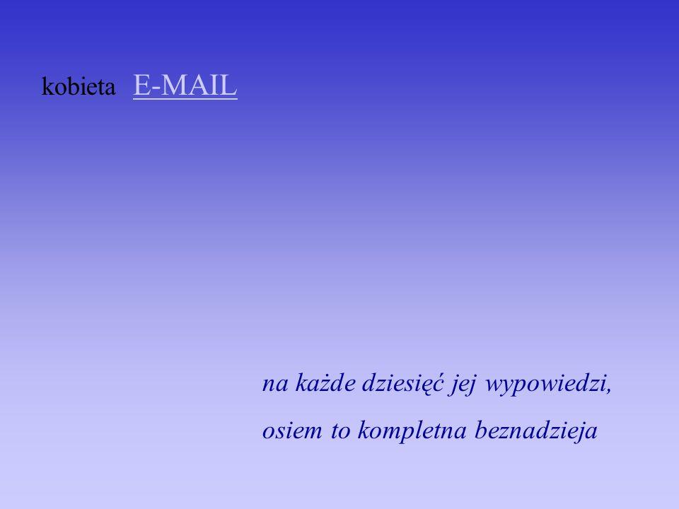 kobieta E-MAIL na każde dziesięć jej wypowiedzi, osiem to kompletna beznadzieja