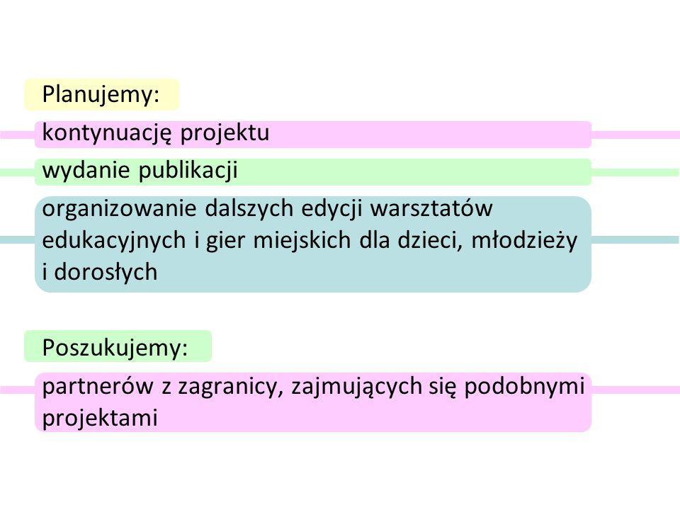 Planujemy: kontynuację projektu. wydanie publikacji.