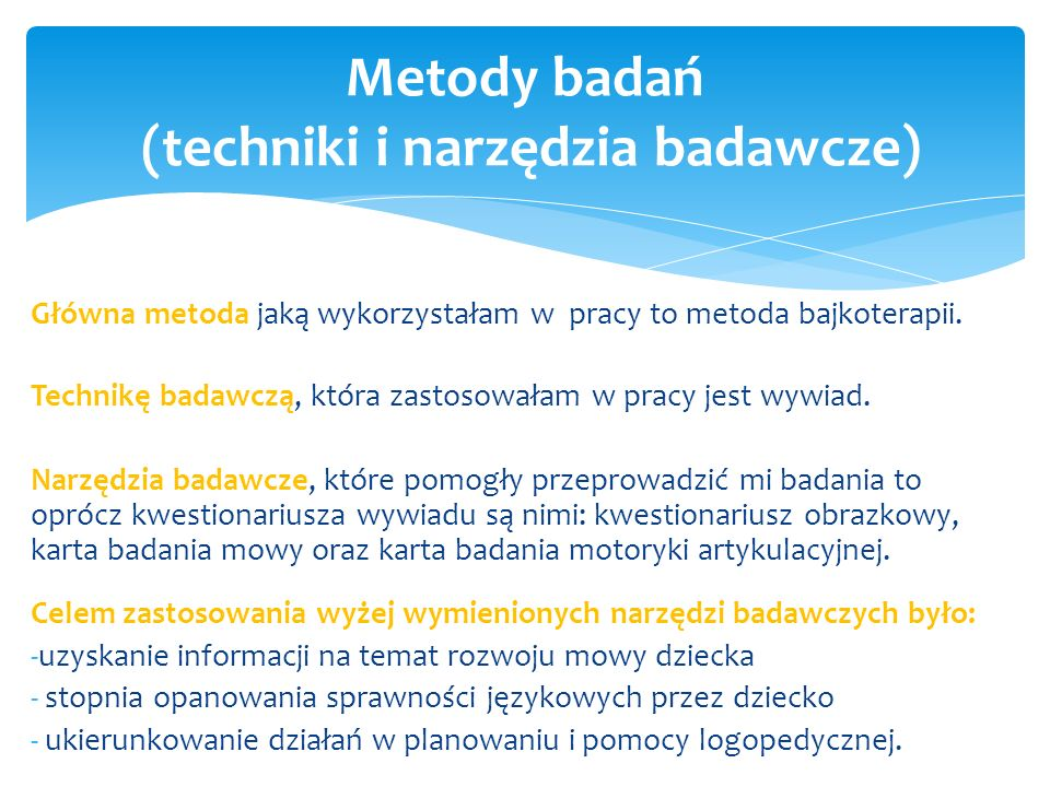 Metody badań (techniki i narzędzia badawcze)