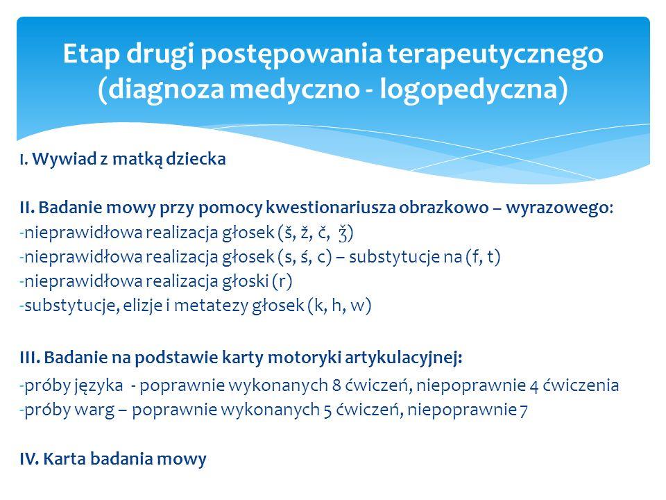 Etap drugi postępowania terapeutycznego (diagnoza medyczno - logopedyczna)