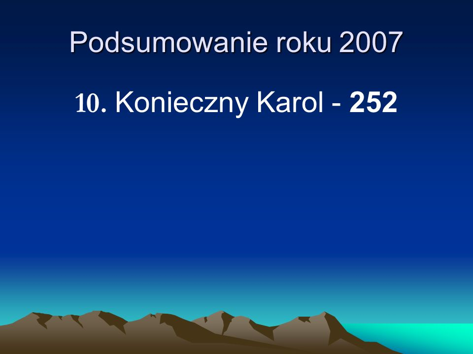 Podsumowanie roku 2007 10. Konieczny Karol - 252