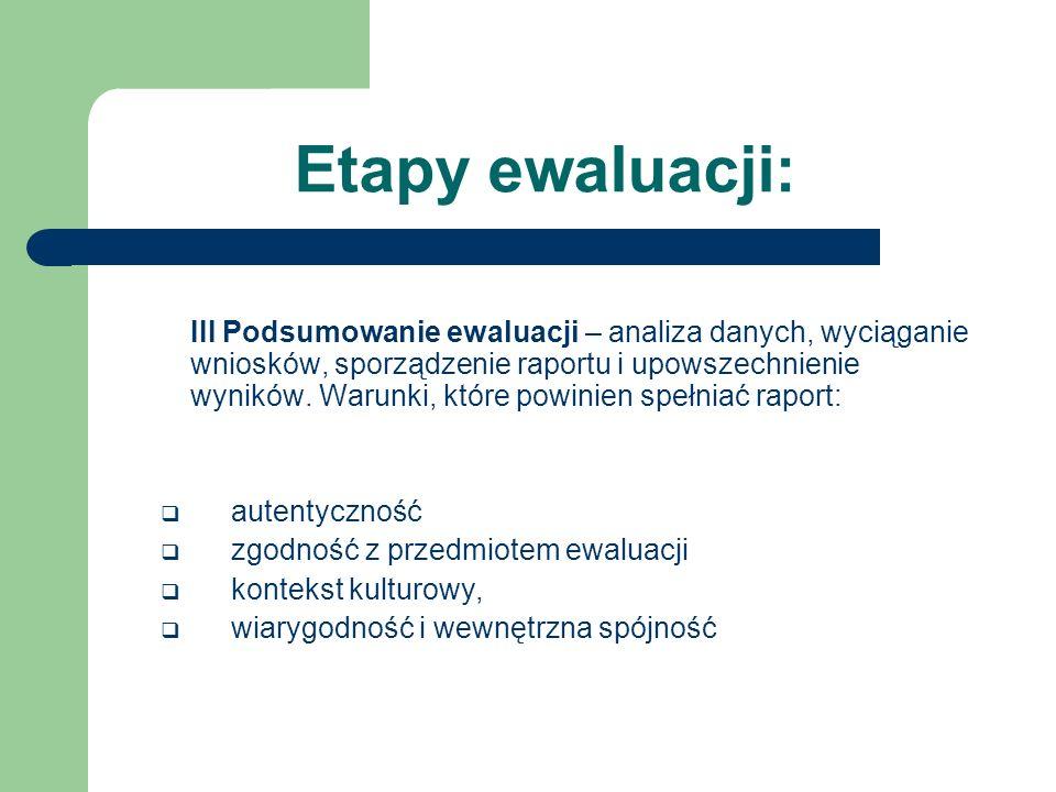 Etapy ewaluacji: