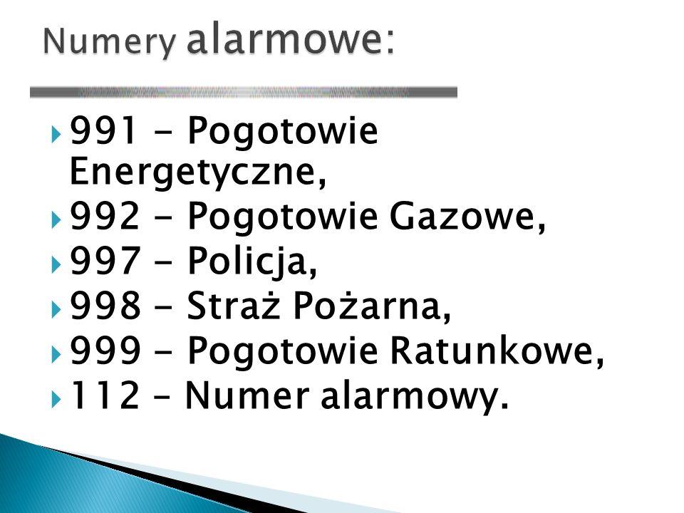 991 - Pogotowie Energetyczne, 992 - Pogotowie Gazowe, 997 - Policja,
