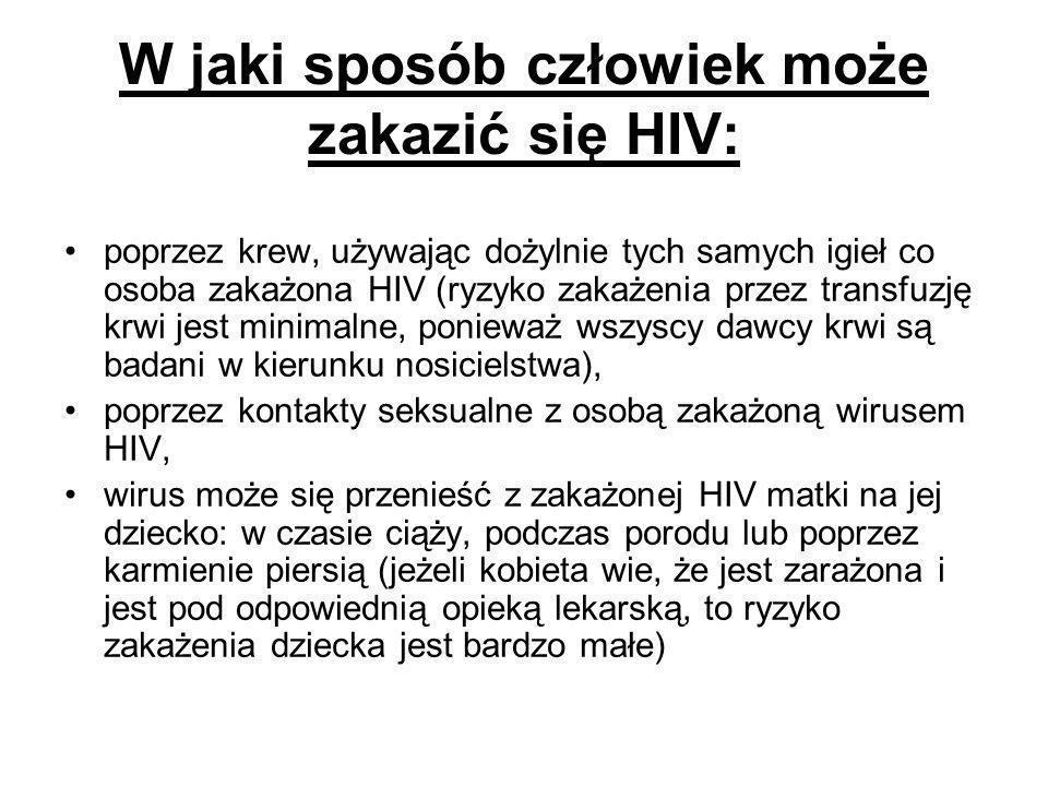 W jaki sposób człowiek może zakazić się HIV: